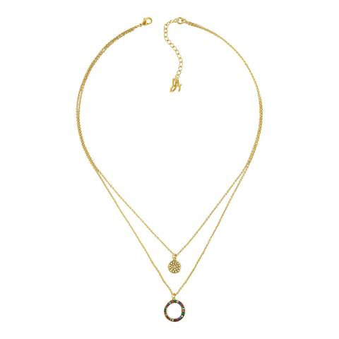 Adore by Swarovski® Gold Plated Organic Circle 2 Row Necklace