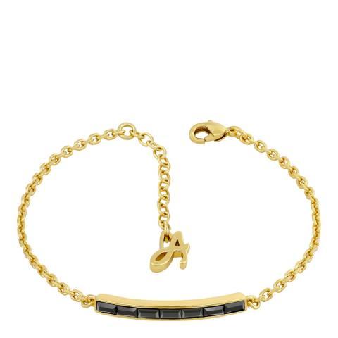 Adore by Swarovski® Gold Plated Black Baguette Bar Bracelet
