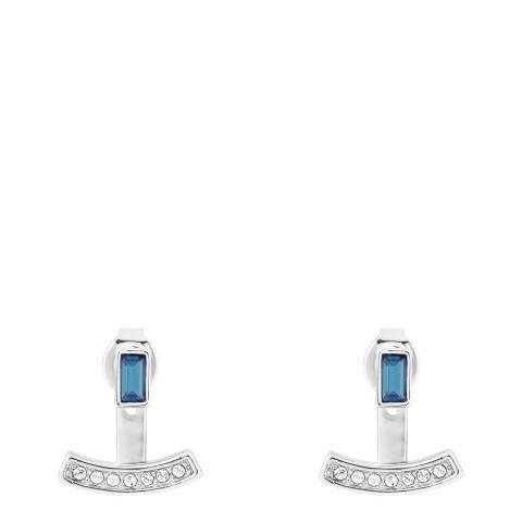 Adore by Swarovski® Silver Blue Baguette Bar Jacket Earrings