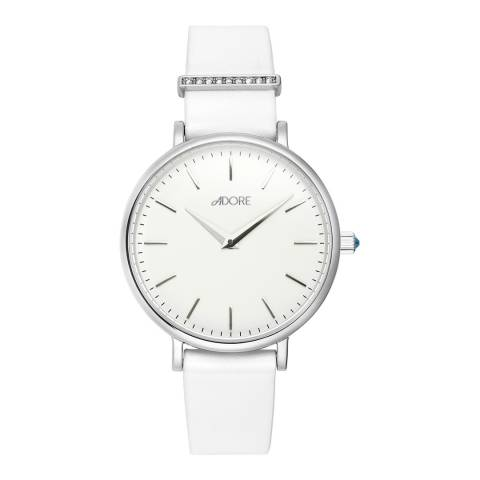 Adore by Swarovski® White Silver Elegance Leather Watch 33mm
