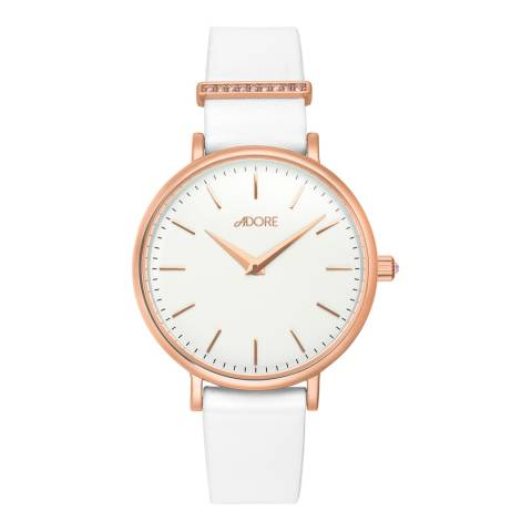 Adore by Swarovski® White Rose Gold Plated Elegance Leather Watch 33mm