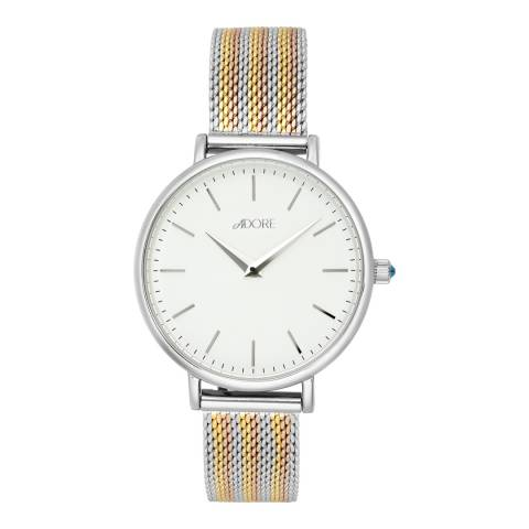 Adore by Swarovski® Silver Tri Tone Shimmer Mesh Watch 33mm