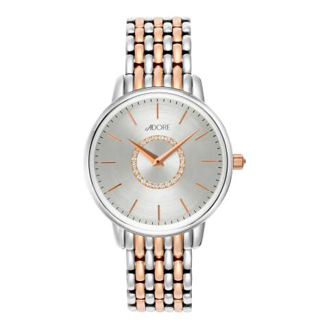 Adore by Swarovski® Silver Rose Gold Plated Luxe Bracelet Watch 33mm