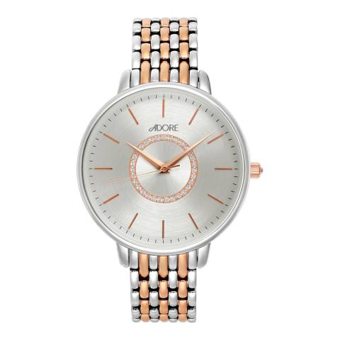 Adore by Swarovski® Silver Rose Gold Plated Luxe Bracelet Watch 38mm