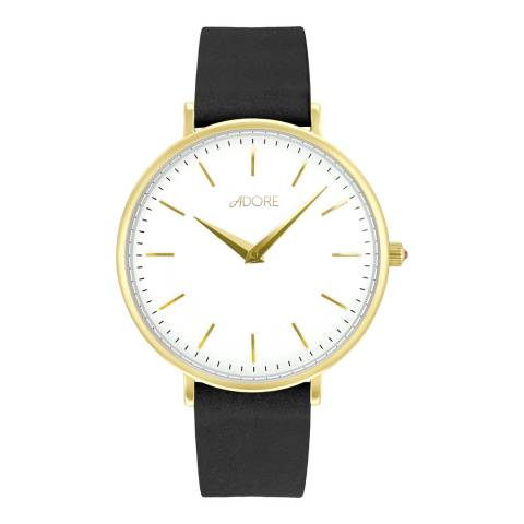 Adore by Swarovski® Black Gold Plated Signature Leather Watch 33mm