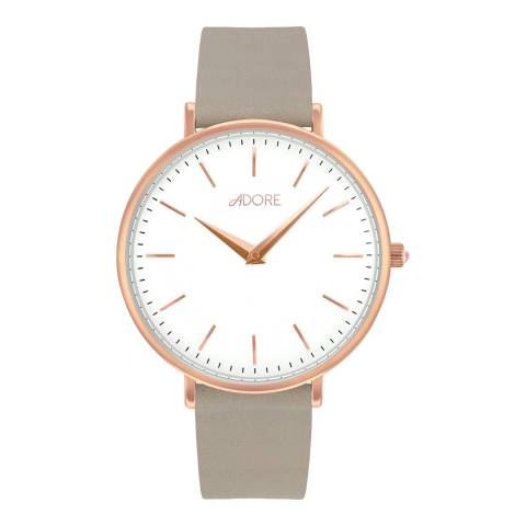 Adore by Swarovski® Grey Rose Gold Plated Signature Leather Watch 33mm
