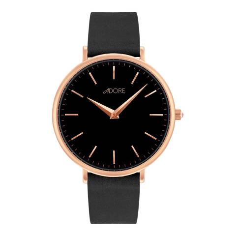 Adore by Swarovski® Black Rose Gold Plated Signature Leather Watch 33mm