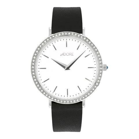 Adore by Swarovski® Black Silver Brilliance Leather Watch 33mm