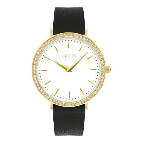 Adore by Swarovski® Black Gold Plated Brilliance Leather Watch 33mm