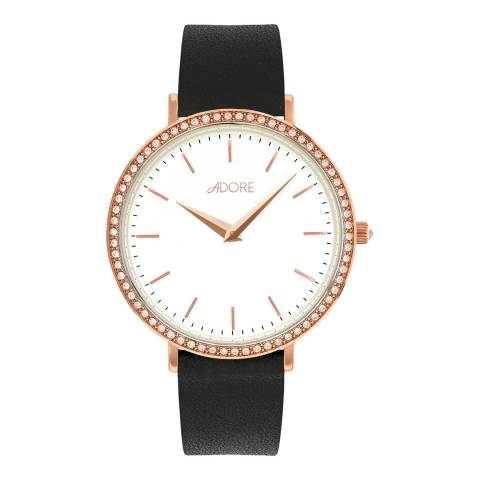 Adore by Swarovski® Black Rose Gold Plated Brilliance Leather Watch 33mm