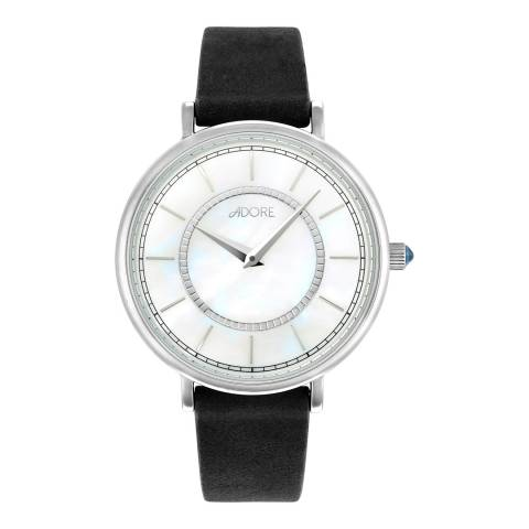 Adore by Swarovski® Navy Silver Naturale Leather Watch 33mm