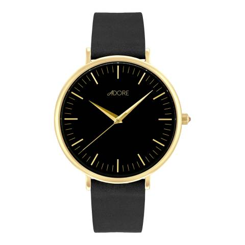Adore by Swarovski® Black Gold Plated Holiday Signature Leather Watch 38mm