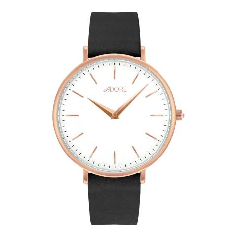 Adore by Swarovski® Black Rose Gold Signature Leather Watch 33mm
