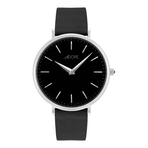 Adore by Swarovski® Black Silver Signature Leather Watch 33mm