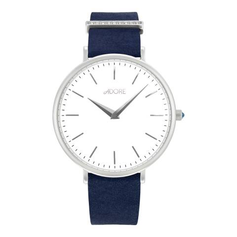 Adore by Swarovski® Navy Silver Elegance Leather Watch 33mm