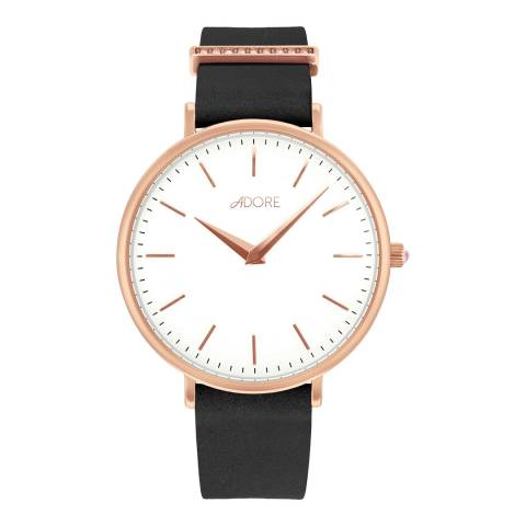 Adore by Swarovski® Black Rose Gold Elegance Leather Watch 33mm