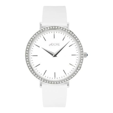 Adore by Swarovski® White Silver Brilliance Leather Watch 33mm