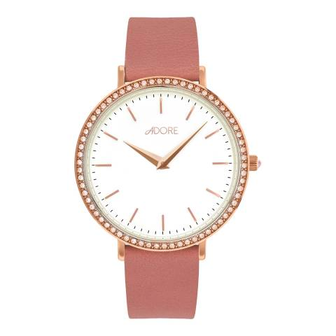 Adore by Swarovski® Pink Rose Gold Brilliance Leather Watch 33mm