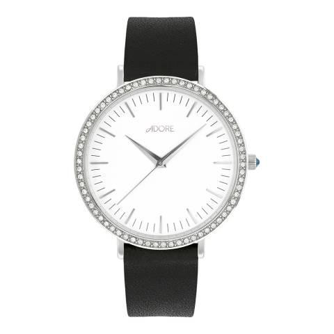 Adore by Swarovski® White Brilliance Leather Watch 38mm