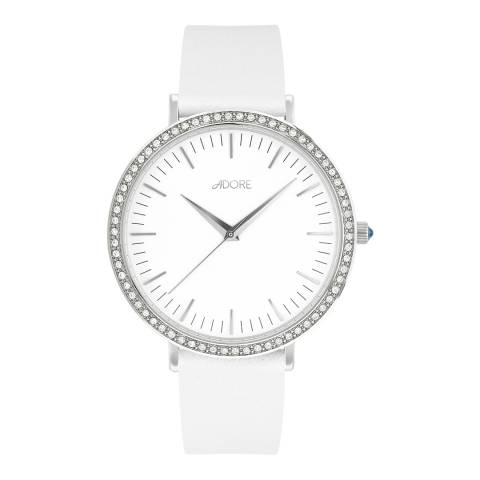 Adore by Swarovski® White Brilliance Leather Watch 38mm