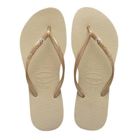 Havaianas Sand Grey & Light Golden Slim Crystal Flip Flop