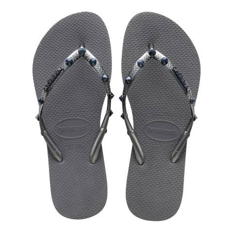 Havaianas Grey Graphite Slim Hardware Studded Flip Flop