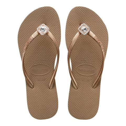 Havaianas Rose Gold Slim Crystal Poem Flip Flop