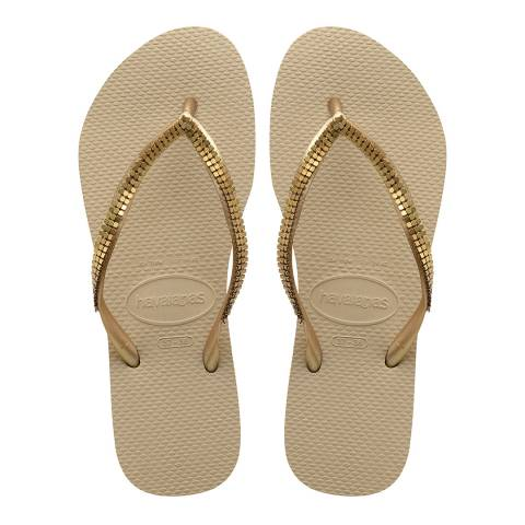 Havaianas Sand Grey & Gold Metal Mesh Flip Flop