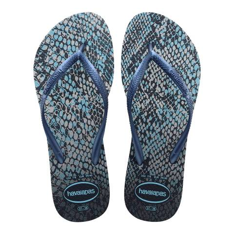 Havaianas Grey & Navy Blue Slim Animal Print Flip Flop