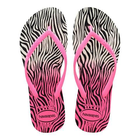 Havaianas Shocking Pink Slim Zebra Print Flip Flop