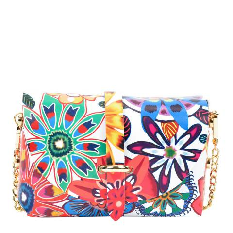 Sofia Cardoni Multi Floral Leather Shoulder Bag
