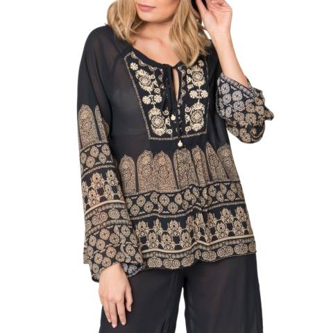 Pia Rossini Black/Gold Fazia Top