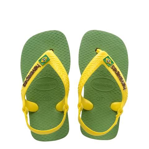 Havaianas Baby Green Bamboo Brazil Logo II Flip Flops