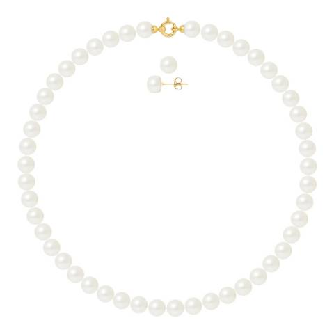 Ateliers Saint Germain Yellow Gold Pearl Necklace And Earrings Set Of 2 8-9mm