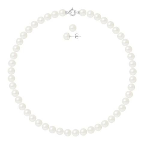 Ateliers Saint Germain White Gold Pearl Necklace And Earrings Set Of 2 8-9mm
