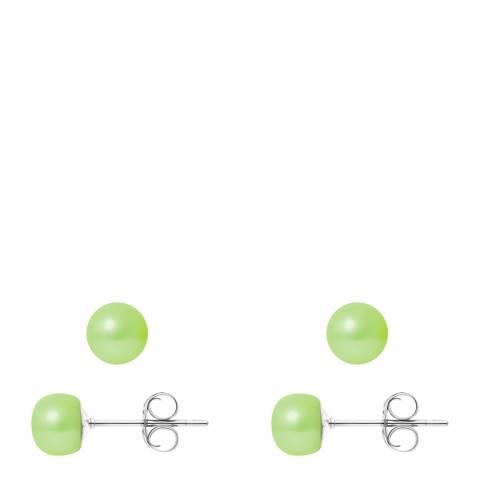 Ateliers Saint Germain Green Pearl Stud Earrings 6-7mm