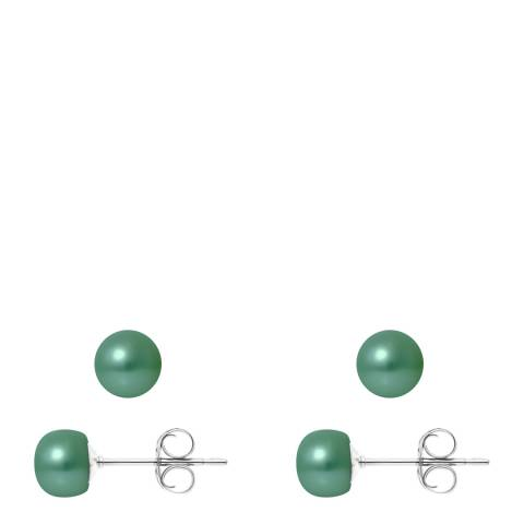 Ateliers Saint Germain Green Pearl Stud Earrings 6-7mm