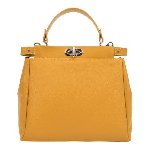 Mangotti Yellow Leather Top Handle Bag