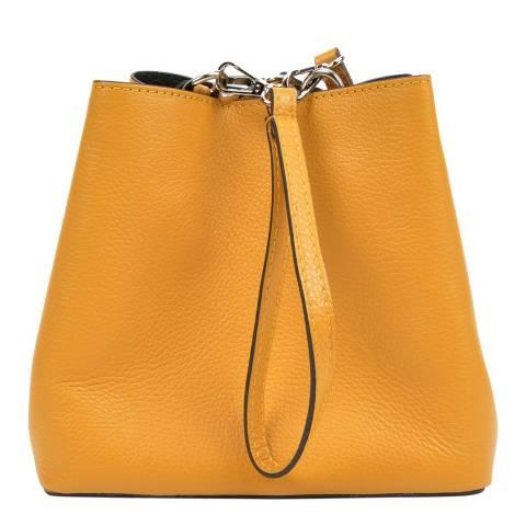 Mangotti Yellow Leather Bucket Bag