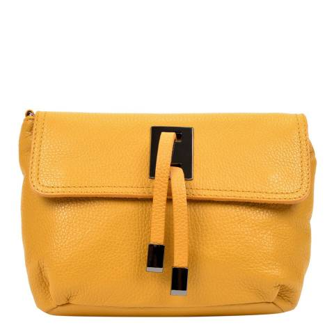 Sofia Cardoni Yellow Leather Shoulder Bag