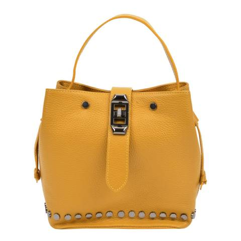 Mangotti Yellow Leather Bucket Bag