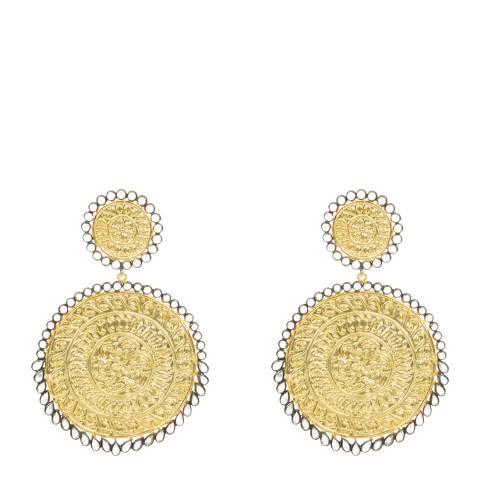 Opuline 22ct Gold Large Disc Earrings