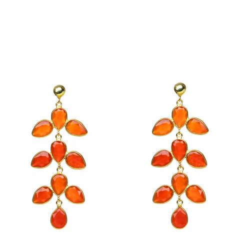 Opuline Red/Orange Teardrop Earrings