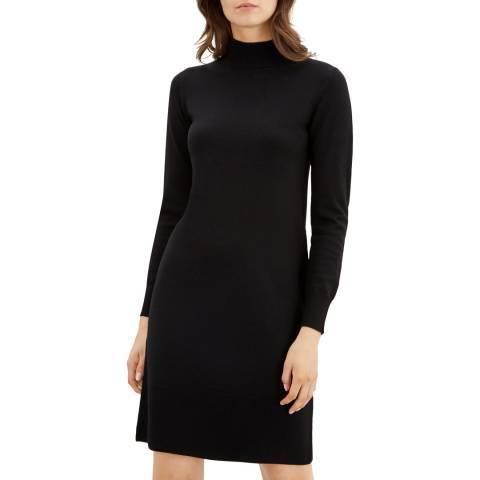 Jaeger Black Rib Merino Wool Dress
