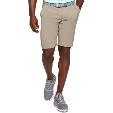 Under Armour Taupe UA Showdown Vented Tapered Shorts