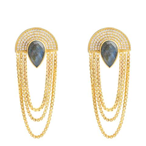 Opuline Gold Hanging Chain Earrings