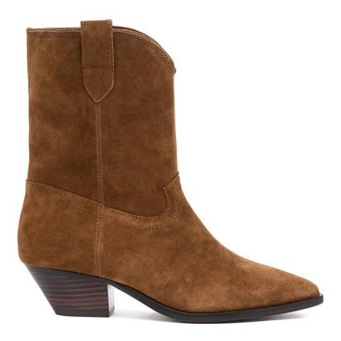 ASH Tan Foxy Suede Mid Calf Boots