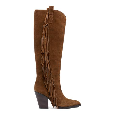ASH Tan Elodie Suede Knee High Boots