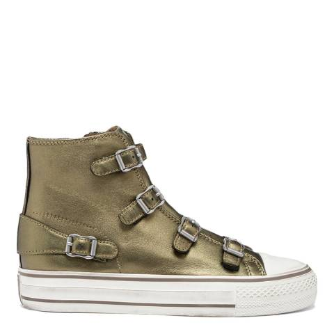 ASH Metallic Khaki Virgin Leather Sneakers