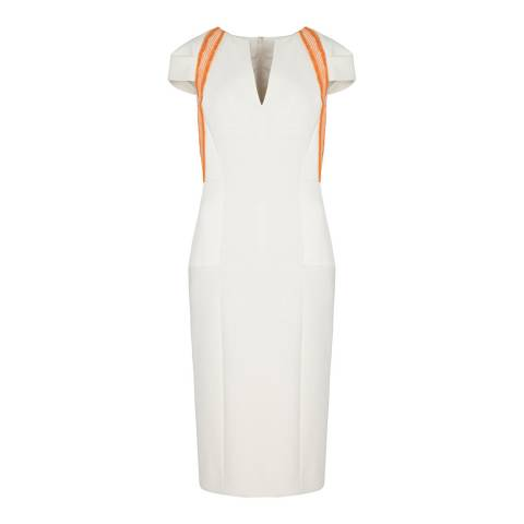 Amanda Wakeley Cream Fitted Sculpted Tailoring Dress